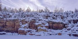 Quarry face in winter